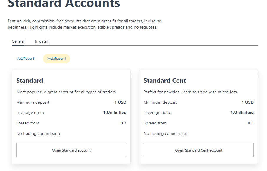 Exness accounts